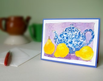 Cards - Teapot and Pears set of 4, FREE SHIPPING within the US
