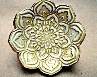 Mustard yellow Ceramic Lotus Ring Dish
