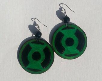 Green Lantern Emblem Earrings Wood burned