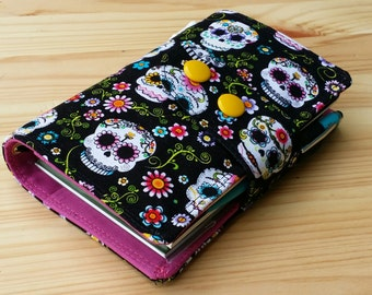 Fabric Fauxdori Travelers Notebook Cover Snap Closer Sugar Skulls on black fits Midori inserts