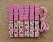Pink Strawberries and Stripes Chunky Little Clothespin Clips w Twine for Display -  Set of 12 - Girl Baby Birthday
