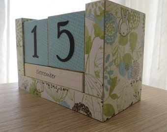 Perpetual Calendar, Wooden Blocks, Spring Awakening, Dandelions and Bunnies, Rabbit Lovers, Teen Girl Gift, Gifts Under 20