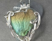 Labradorite Heart Silver Wire Wrapped Pendant RESERVED FOR JV