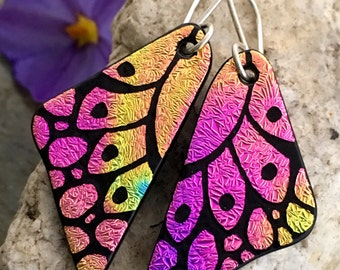 DICHROIC EARRINGS Rainbow Butterfly Wings Hand Etched Fused Glass with Sterling Silver Hooks