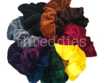 9 velvet scrunchies //  pick your VELVET scrunchie assortment - rainbow, dark, pastel, black and more