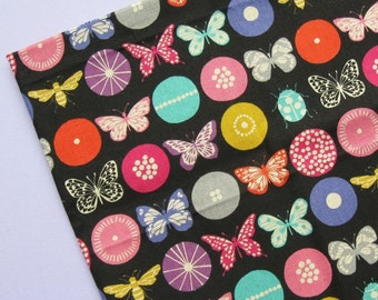 Echino by Etsuko Furuya for Kokka Japan - Butterflies, Circles, Linen Blend - Fat Quarter - Fabric Destash