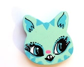 Minty Cat Head Charm Necklace or Pin