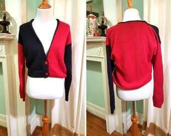 Vintage Red and Blue Half and Half Cardigan M - L