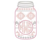 Mason Jar Aztec Applique Design Circle Embroidery Design Font Machine Embroidery Font Instant download 4x4 5x7 6x10 BX All Formats