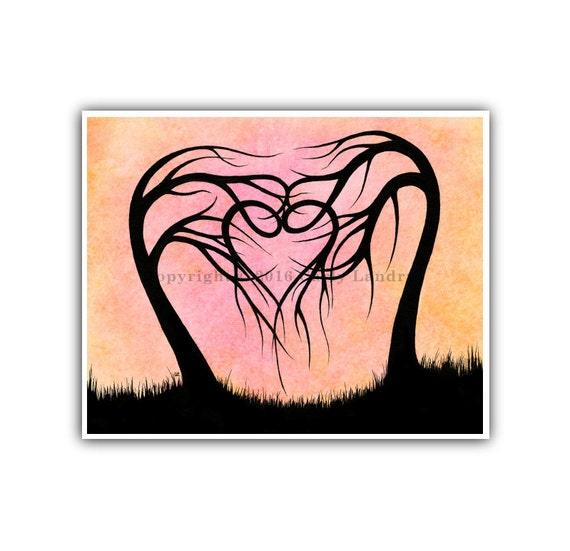 Heart Shape Trees Art Print - Everlasting Love - Minimalist Modern Bold Contemporary Fine Artwork Style Size Options 8x10 11x14 16x20 20x24