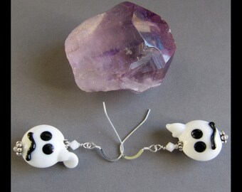 Lampwork  Ghost Ghoul Goblin Halloween Earrings EHAG by Cornerstoregoddess