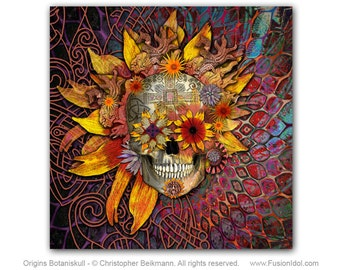 Sugar Skull 20x20 Art Canvas - Origins Botaniskull - Botanical Sugar Skull Art - Aztec and Celtic Floral Skull Canvas