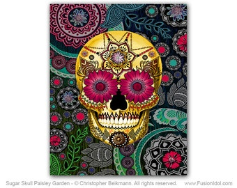 Paisley Sugar Skull 8x10 Art Canvas - Sugar Skull Paisley Garden - Modern Day of the Dead Art Canvas