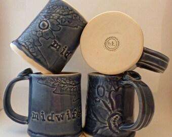 Midwife Mug, Madeline Lace, blue