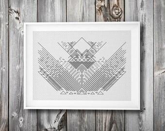 geometric embroidery + cross stitch pattern ++ wall art ++ pdf  INsTAnT DOwNLoAD ++ diy ++ hipster craft ++ handmade design