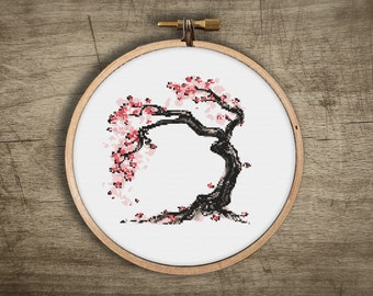 bonsai cross stitch pattern ++ asian cherry blossom tree ++ pdf INsTAnT DOwNLoAD ++ diy hipster ++ embroidery ++ handmade design