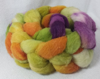 CLEARANCE  Yarn Hollow Hand Dyed Polypay Roving Sun Salutation  Multi Color