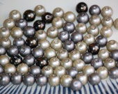 8mm Mix METALLIC SILVER Glass Pearl Coated Round Beads (80) RD65