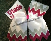 Custom Chevron Glitter Personalized Cheer hair bow - Choose your colors