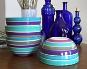 Striped Porcelain Bowl in Shades of Blue Purple Grey and Lavender - Ceramic Soup Bowl