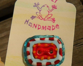 Artisan Button 2 Hole Handmade Red White Aqua SRA Glassymom