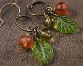 Green leaves earrings, tangerine orange frosted beads and gold glass bead antique brass ring handmade earrings