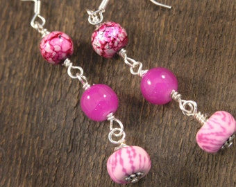 Pink polymer clay beads, painted marbled glass, fushia glass and silver handmade earrings