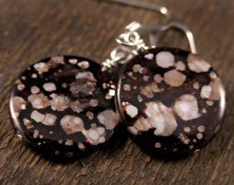 Natural shell beads, black with shimmery brown and cream spots and silver handmade earrings