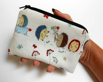 Flower Hedgehogs Little Zipper Pouch Coin Purse Gadget Case ECO Friendly Padded NEW