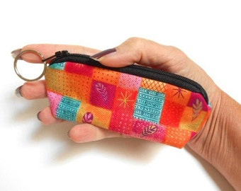 SALE Mini Key Ring Zipper Pouch ECO Friendly Padded Lip Balm Case Gypsy Wind