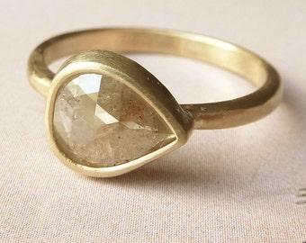 Coloured Rose Cut Pear Diamond Ring - Deposit