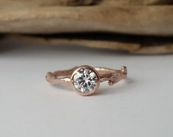 Round Moissanite Branch Ring
