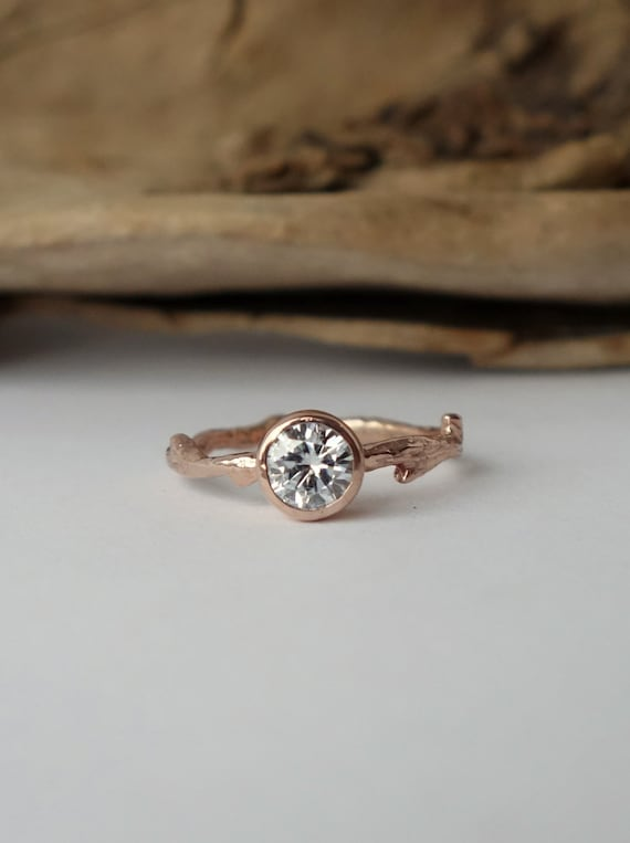 Round Moissanite Branch Ring