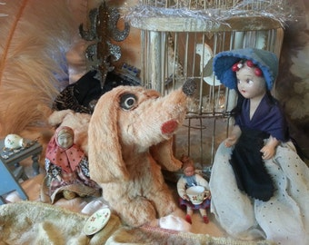"""Print of funny little scene, antique dolls and old dachshund puppy talking to each other in a vignette style photo, 8"""" x 10"""", framable"""