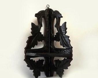 Antique Folding Wood Corner Wall Shelf, Vintage Black Forest Carved Leaf Design, Dark Stain