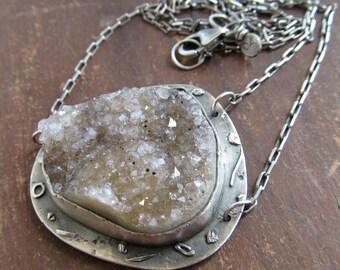 Silver Druzy Necklace Statement Quartz Druzy Sparkling Neck Piece