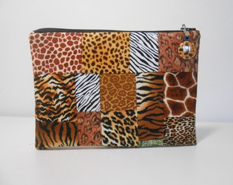 Patchwork Zipper Pouch Animal Prints Coin Purse, Cosmetic Pouch With Zipper Pull