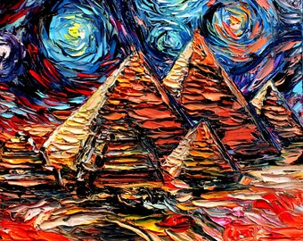 van Gogh Never Saw Giza - Art Giclee print reproduction by Aja 8x8, 10x10, 12x12, 20x20, and 24x24 inches choose your size