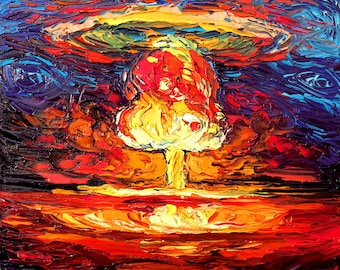 Nuclear Bomb Art - van Gogh Never Saw Bikini Atoll - Giclee print by Aja 8x8, 10x10, 12x12, 20x20, and 24x24 inches choose your size