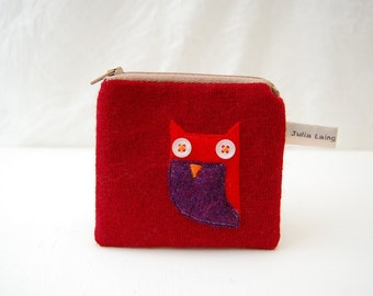 OWL Coin Purse Red Pouch Recycled Wool and Buttons