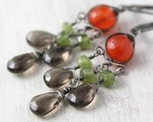 Fall Foliage Chandelier Earrings Oxidized Silver