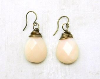 Drop Earrings,  Opal Earrings, Gemstone Earrings, Silver Earrings, Pink Peruvian Opals, October Birthstone, Opal Jewelry, By Durango Rose