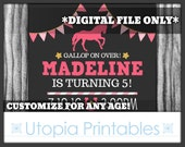 Horse Birthday Invitation Girl Pink Gold Gray Grey Cute Equestrian Theme Pony Gallop On Over Party Digital Printable DIY 5x7