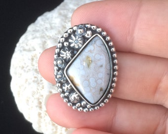 Ocean Jasper Stone Ring, Choose Your Size, Sterling Silver Metalsmith Ring, Nature Lover Flower Garden Ring Bohemian Style Floral Ring