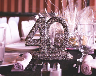 "Set of  10 Glittered ""40"" Table topper, Centerpieces, also include 2 w/o stands"