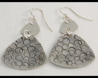 CIRCLES - Handforged Hammered Pewter Modern Design Earrings