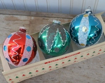 West Germany Christmas Ornaments - 3 - Large - Royal Hill Vintage
