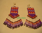 Native American Style loom beaded earrings in Purple and Fire colors