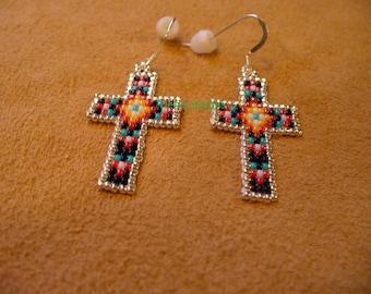 Native American Style loom beaded Cross Earrings