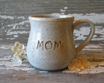 MOM mug -  Pre Order NOW for Mother's Day! - Pottery Mug - Vanilla White - Round Bottomed Mug - Stoneware Mug - Coffee Cup - Tea